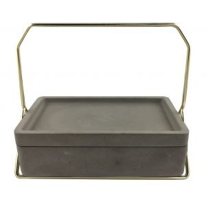 Polished concrete bathroom caddy with gold metal handle
