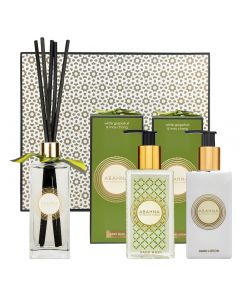 White Grapefruit & May Chang cloakroom set with hand wash, hand lotion and reed diffuser